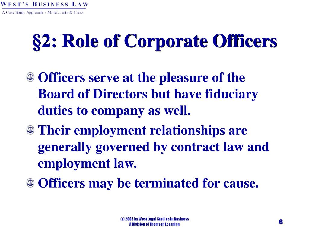 §2: Role of Corporate Officers