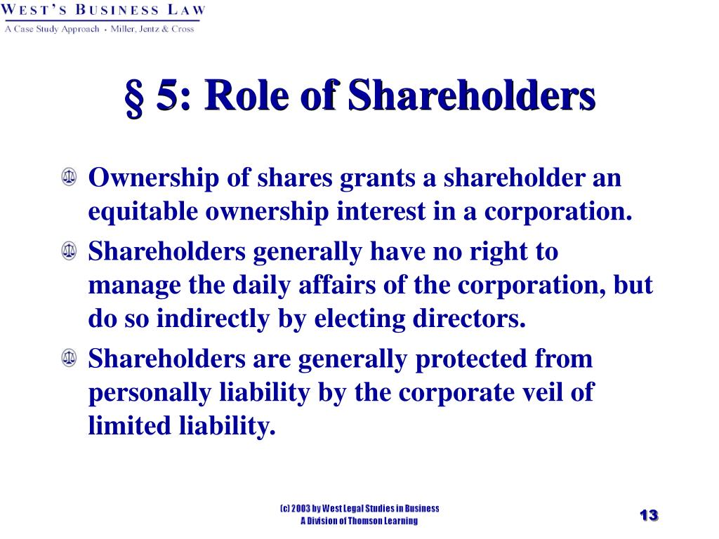 § 5: Role of Shareholders