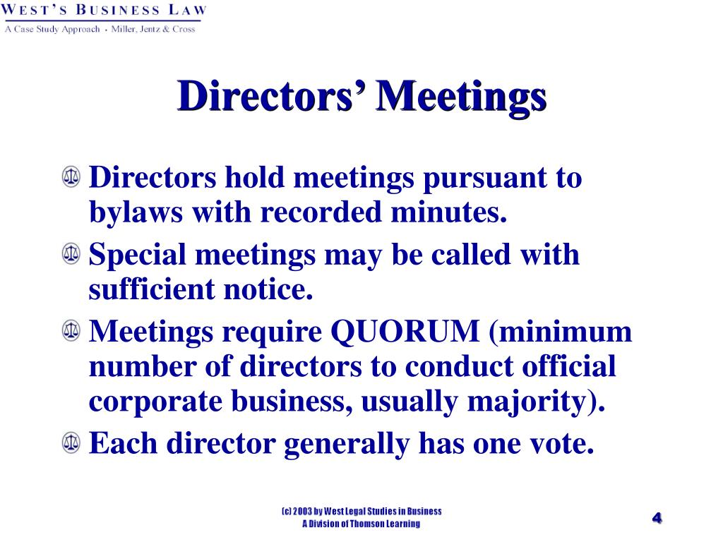 Directors' Meetings