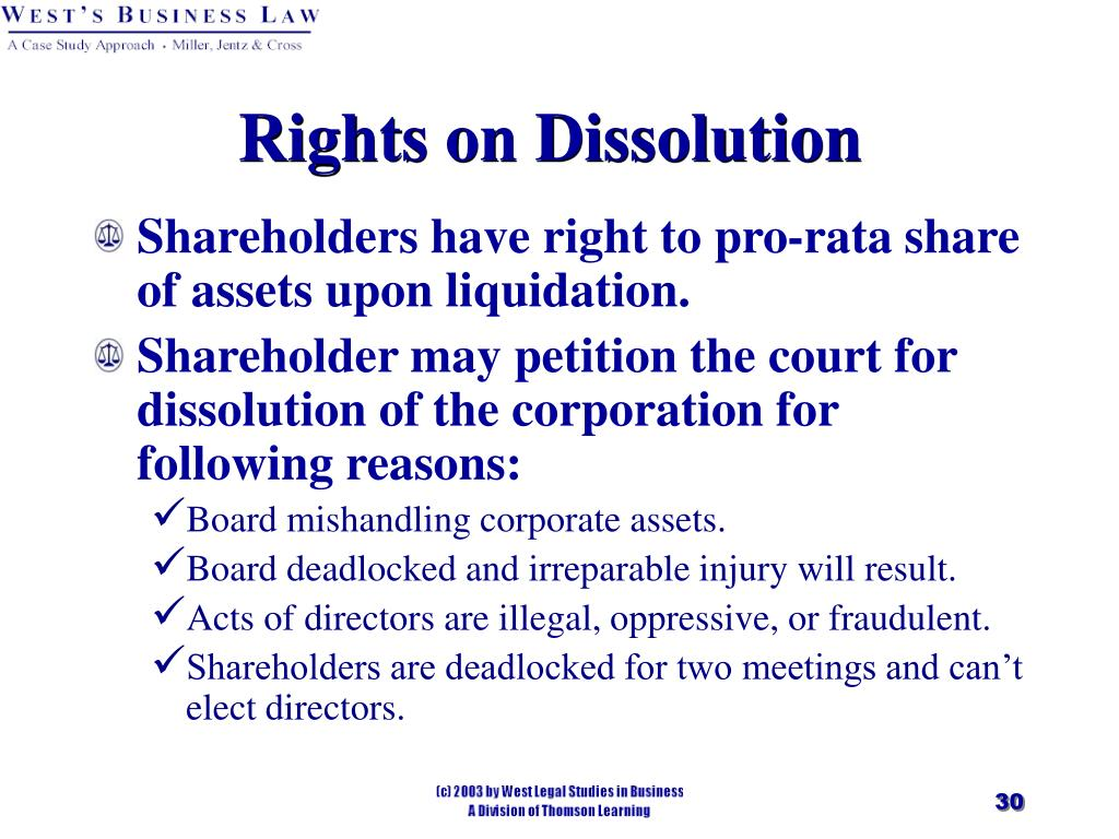 Rights on Dissolution
