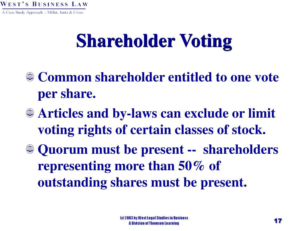 Common shareholder entitled to one vote per share.