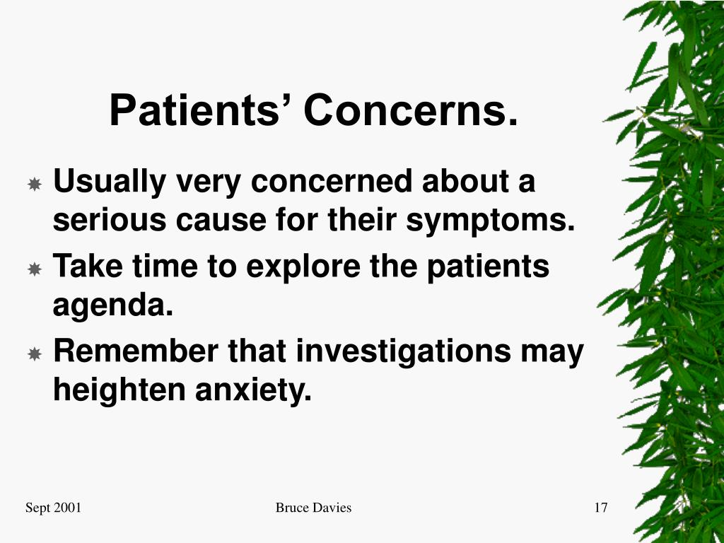 Patients' Concerns.