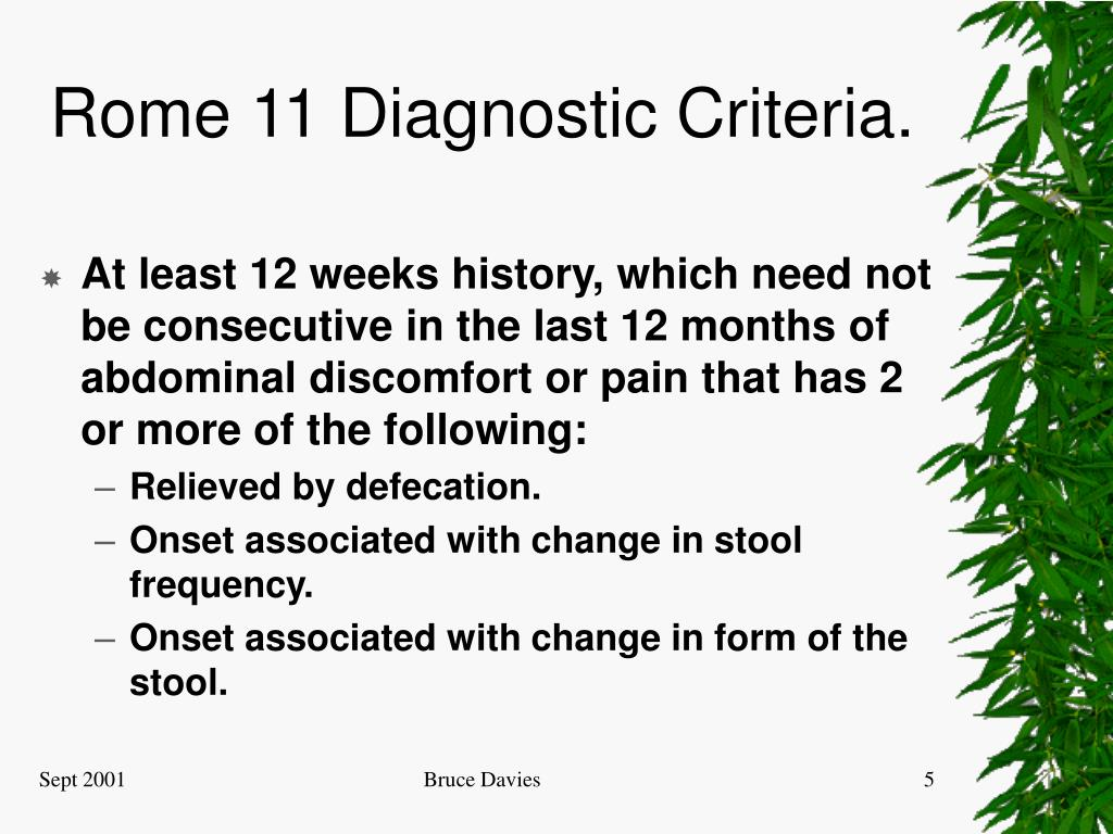 Rome 11 Diagnostic Criteria.