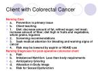 client with colorectal cancer128