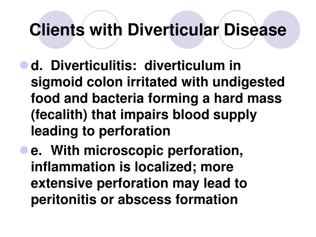 Clients with Diverticular Disease