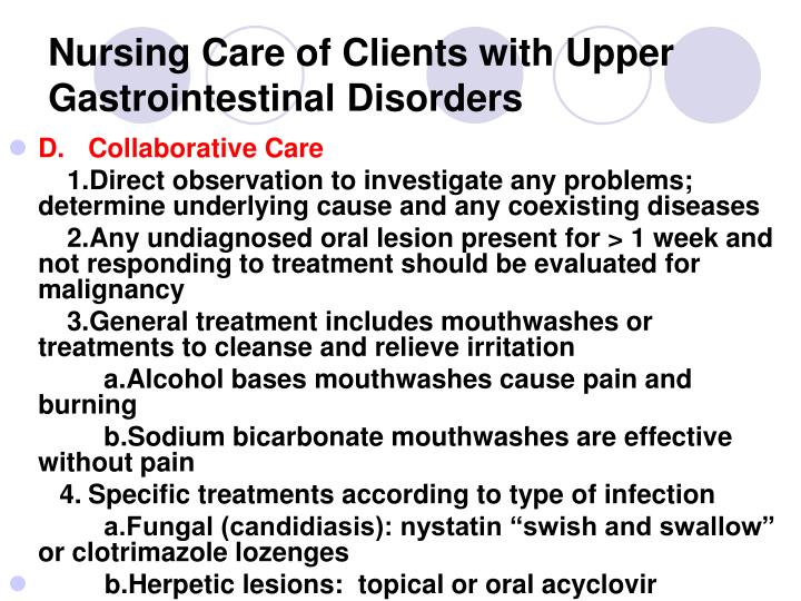 Nursing care of clients with upper gastrointestinal disorders2
