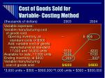 cost of goods sold for variable costing method