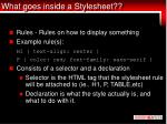 what goes inside a stylesheet