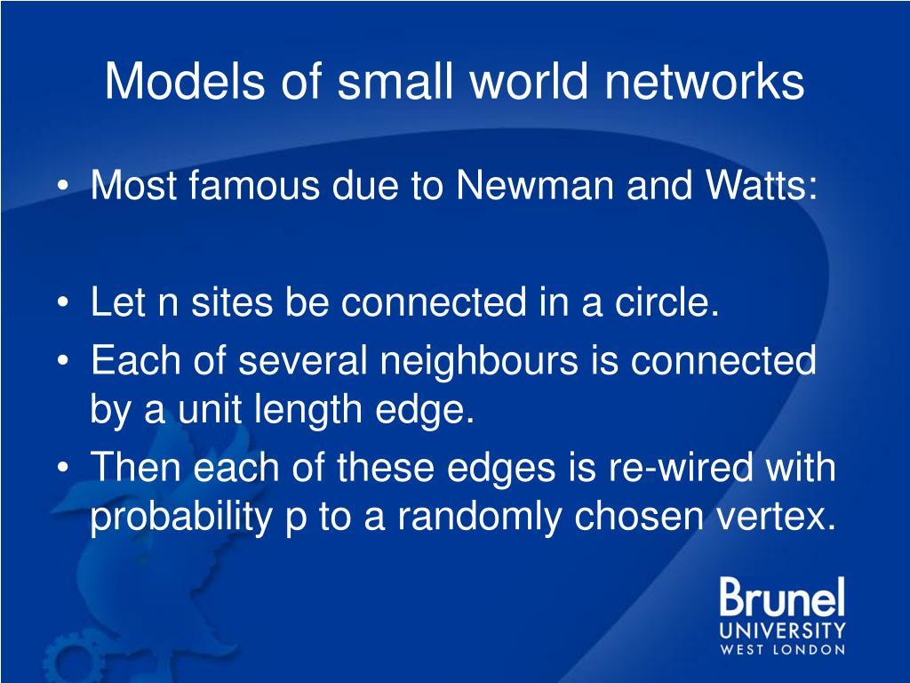 Models of small world networks