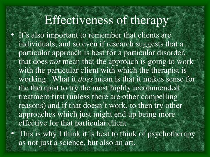 Effectiveness of therapy