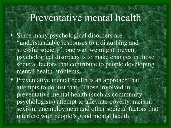 Preventative mental health