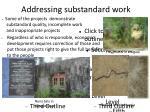 addressing substandard work