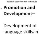 tourism economy key initiatives