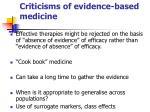 criticisms of evidence based medicine