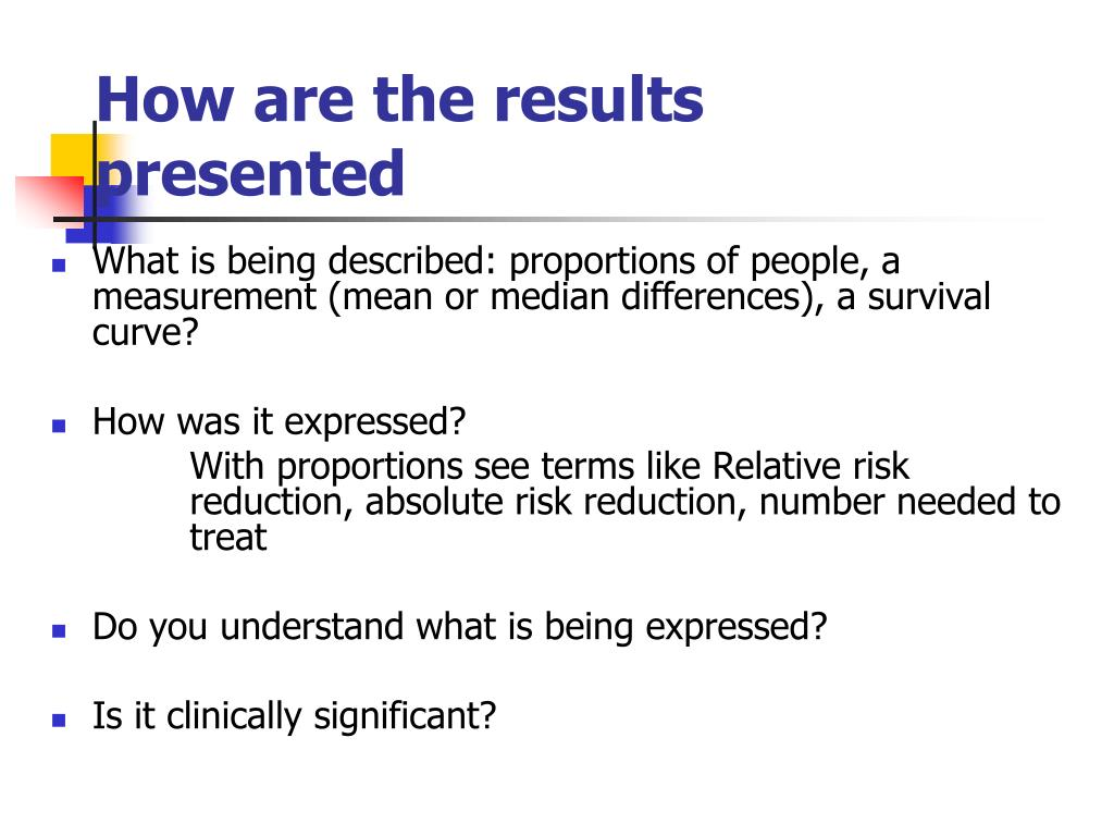 How are the results presented