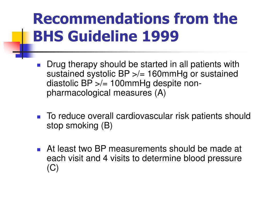 Recommendations from the BHS Guideline 1999