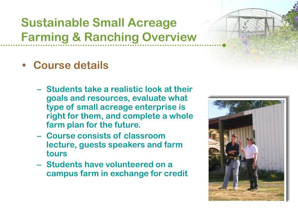 Sustainable Small Acreage