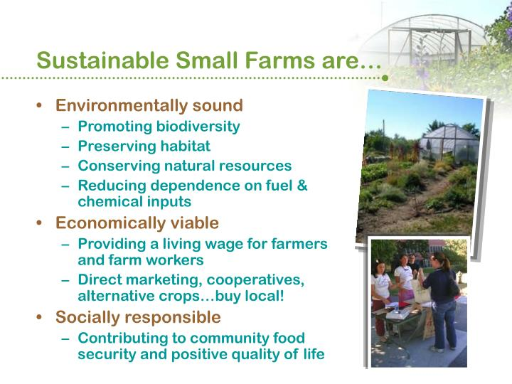 Sustainable small farms are
