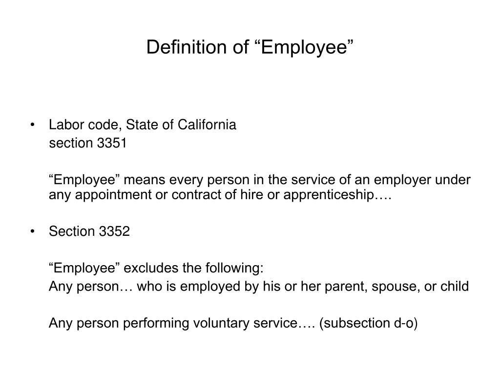 """Definition of """"Employee"""""""