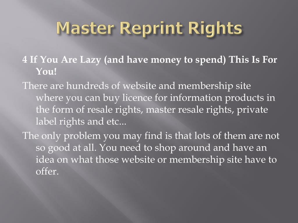 Master Reprint Rights