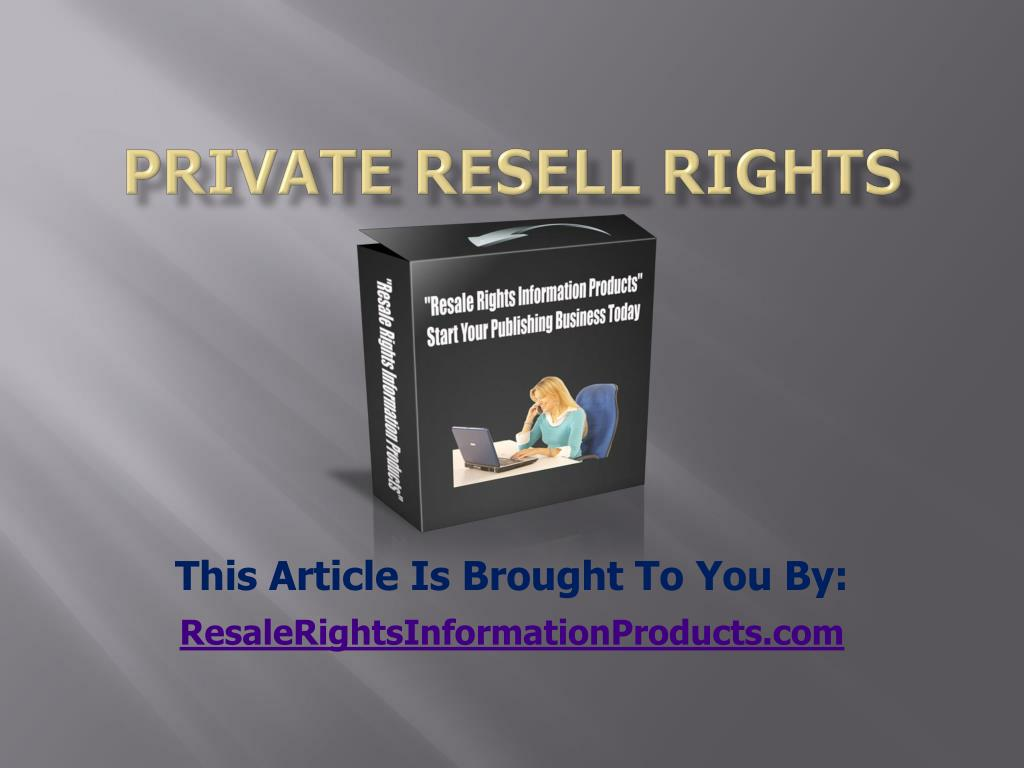 private resell rights l.