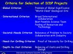 criteria for selection of icdp projects