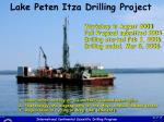 lake peten itza drilling project