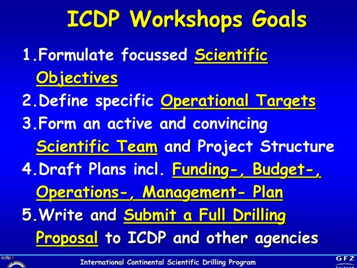 ICDP Workshops Goals
