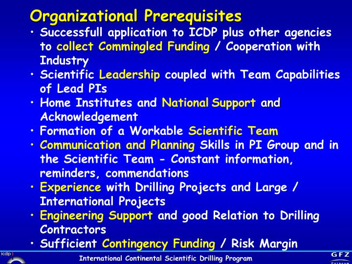 Organizational Prerequisites