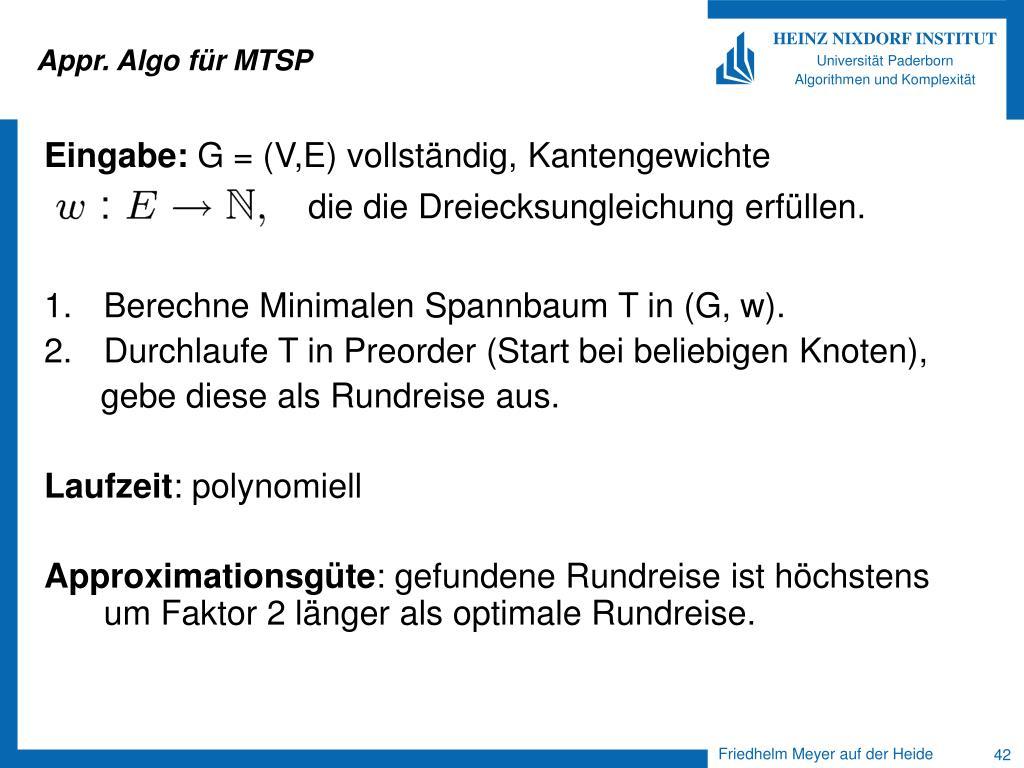 Appr. Algo für MTSP