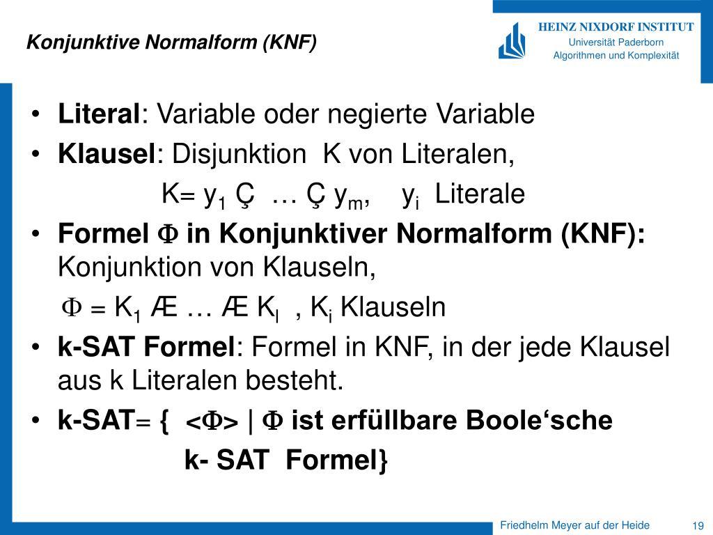 Konjunktive Normalform (KNF)