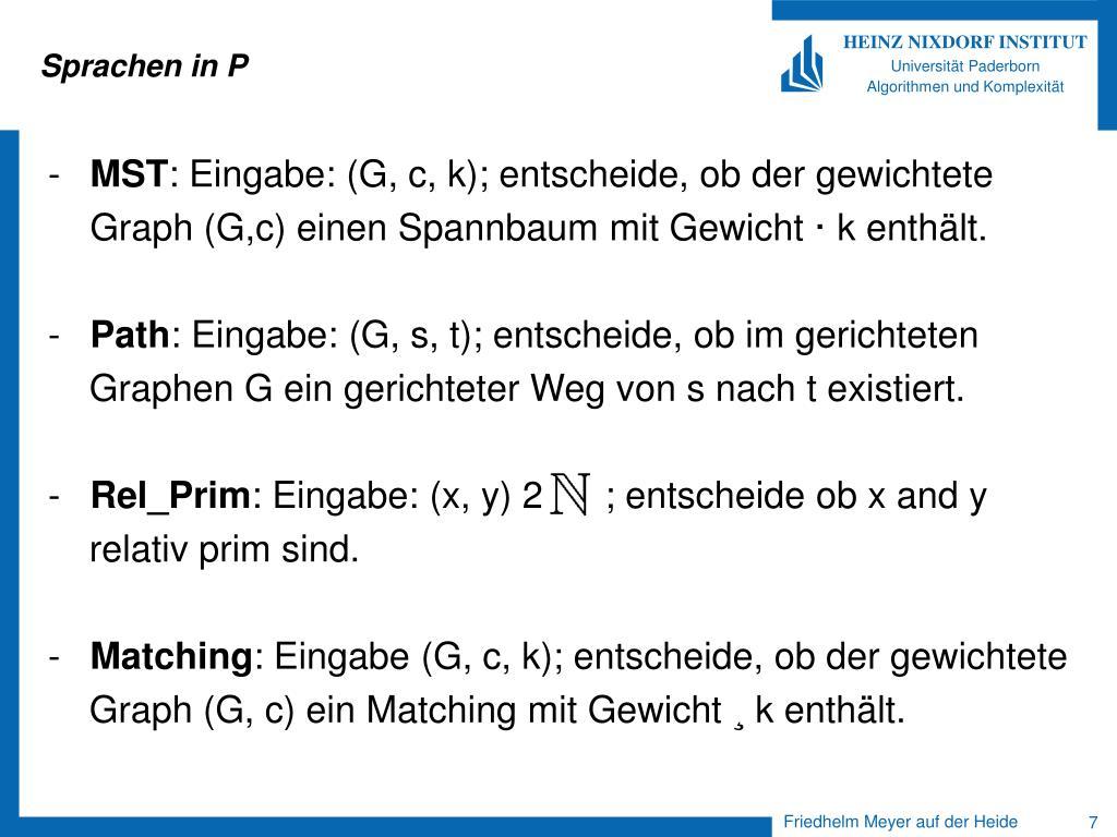 Sprachen in P