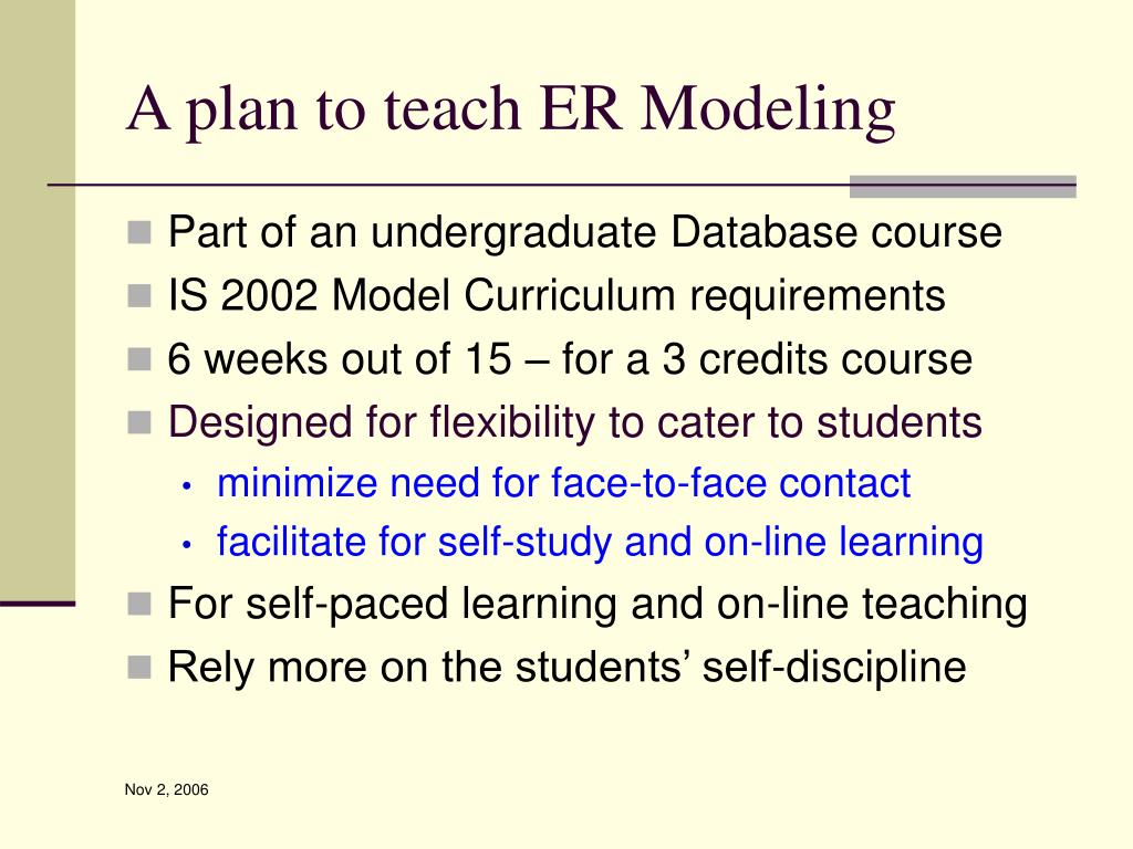 A plan to teach ER Modeling