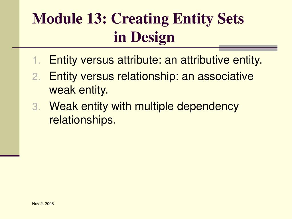 Module 13: Creating Entity Sets