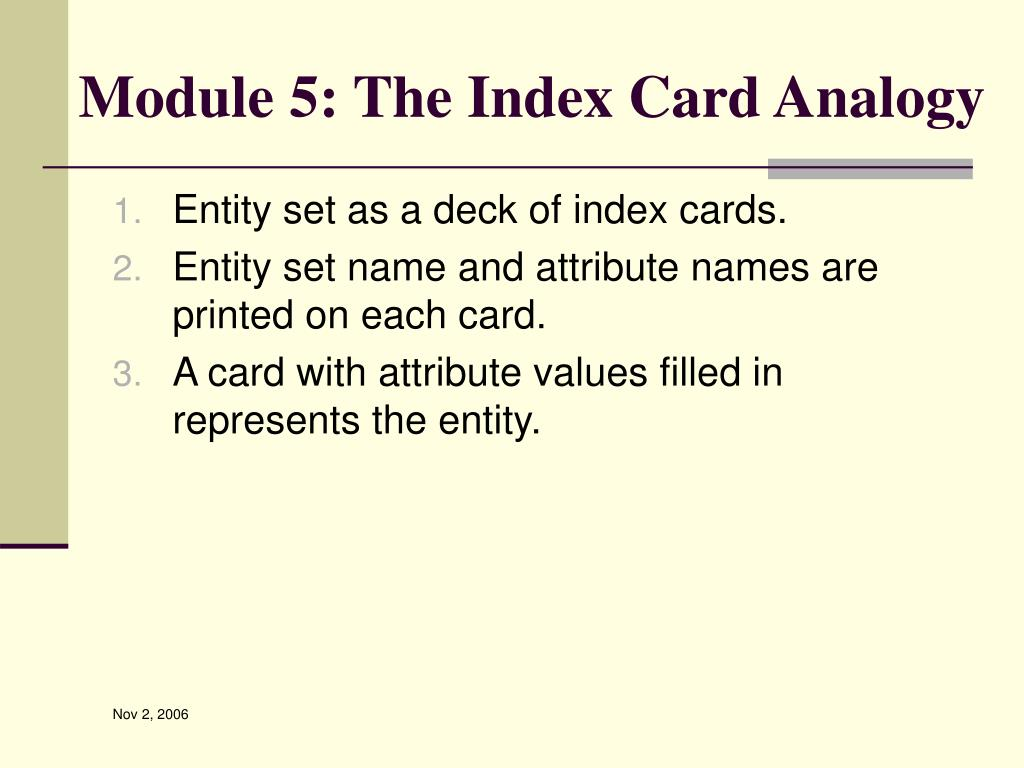 Module 5: The Index Card Analogy