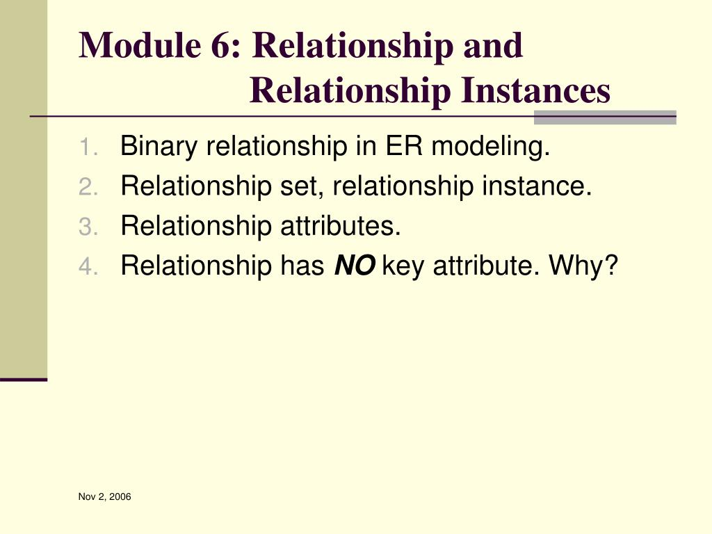 Module 6: Relationship and