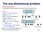 the one dimensional problem