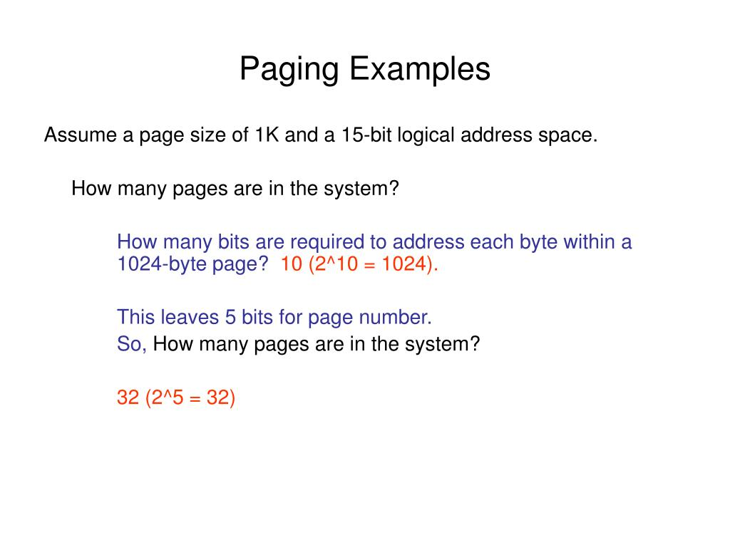 Paging Examples