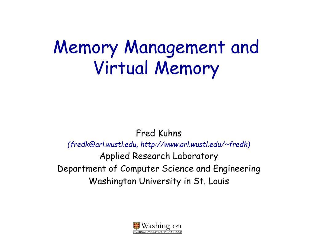 memory management and virtual memory l.
