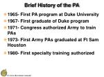 brief history of the pa