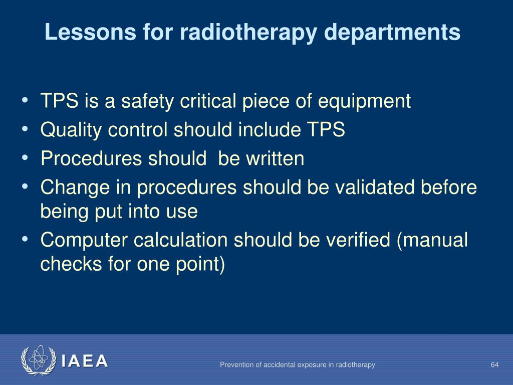 Lessons for radiotherapy departments