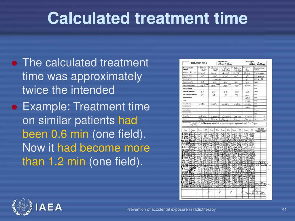 Calculated treatment time