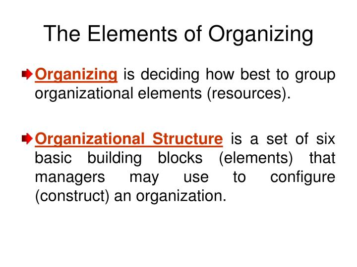 elements of organization Elements of organizational behavior the organization's base rests on management's philosophy, values, vision and goals this in turn drives the organizational culture which is composed of the formal organization, informal organization and the social environment.