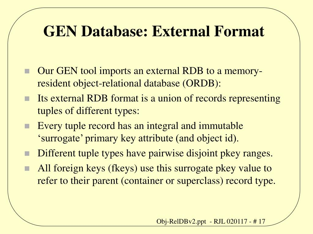 GEN Database: External Format