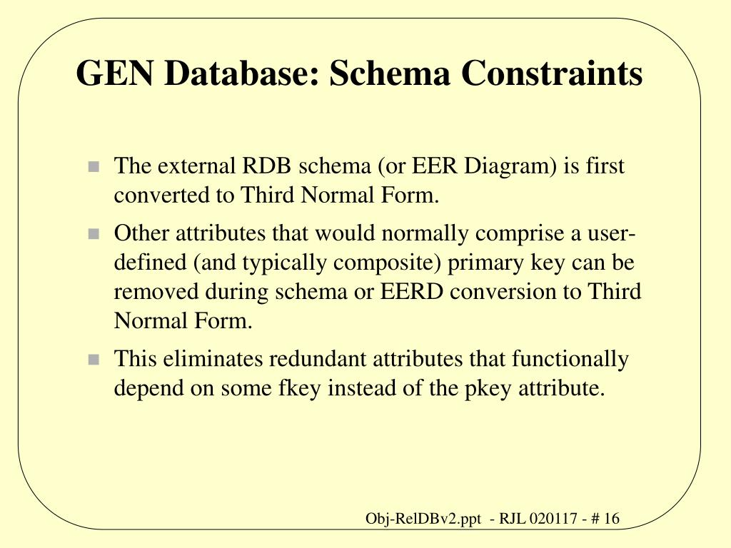GEN Database: Schema Constraints