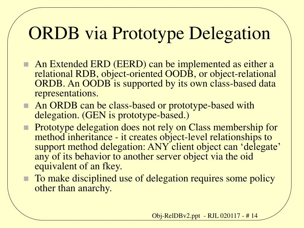 ORDB via Prototype Delegation