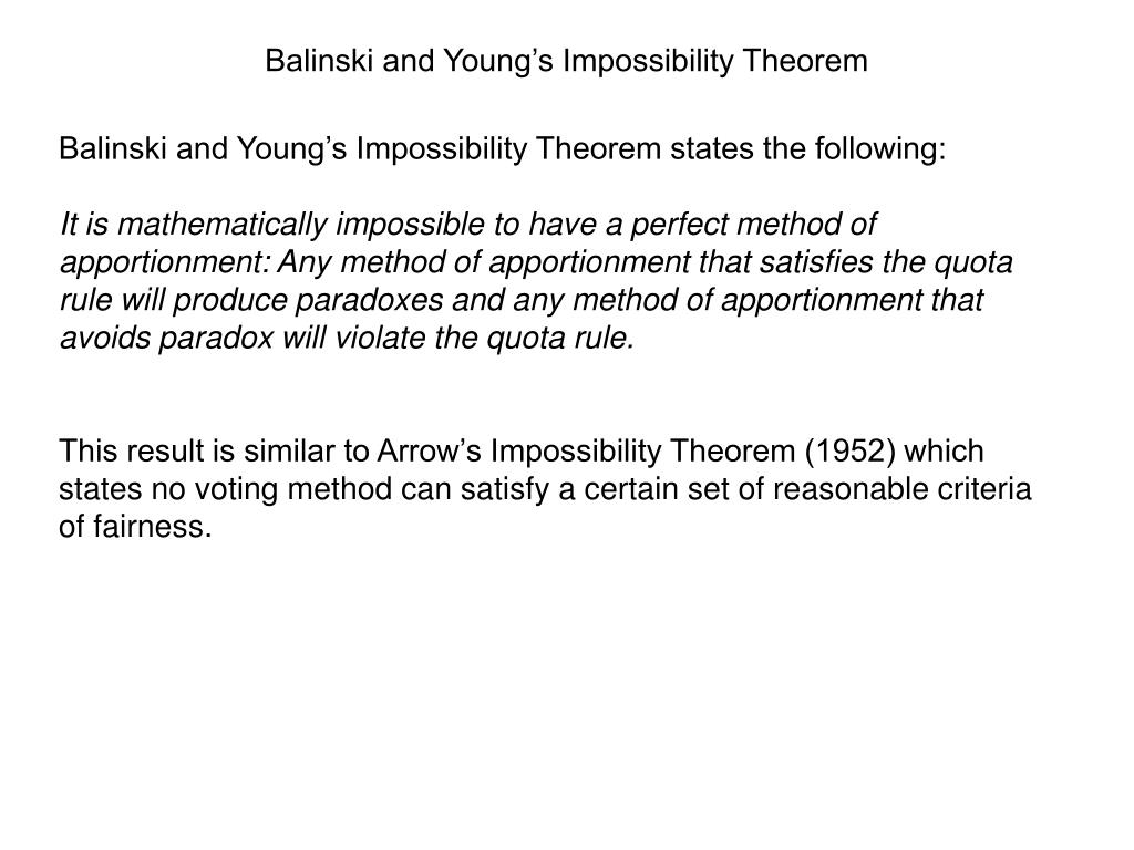 Balinski and Young's Impossibility Theorem