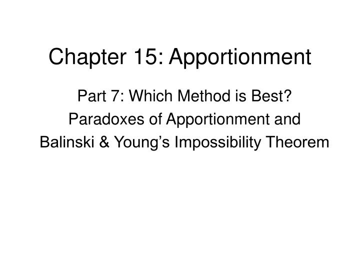 Chapter 15 apportionment