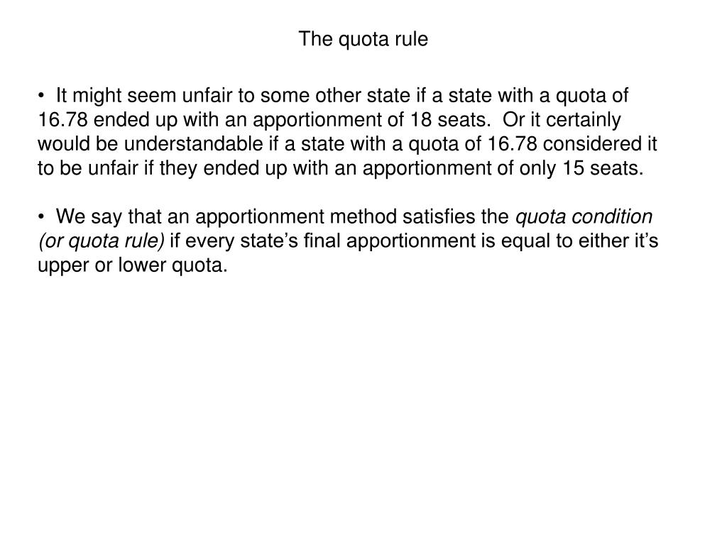 The quota rule