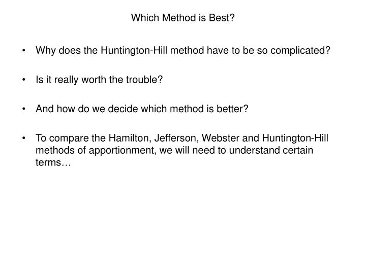 Which method is best